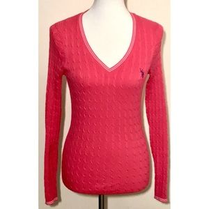 U.S POLO Ribbed Pink Knit Long Sleeve Sweater